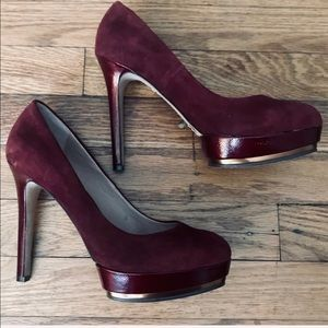 Vince Camuto Suede Pumps Burgundy and Gold